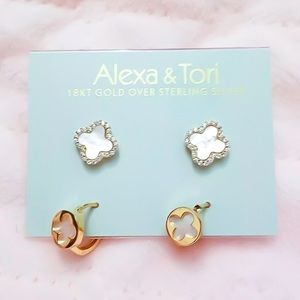 Alexa & Tori MOP Clover Earrings Duo